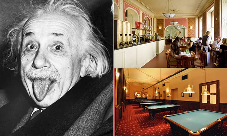 Three tiled images - including a black and white image of Albert Einstein, the pool room at Cafe Louvre, Prague, and the interior of the cafe