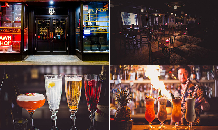 Four tiled images - including the exterior of Dusk Til Pawn, interior of The Fitzgerald, four different cocktails lined up on a bar, and another image of cocktails with flames and a bartender in the background