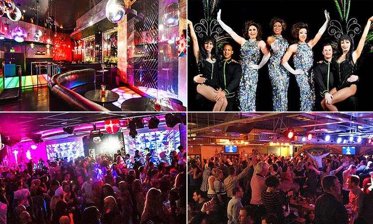Four tiled images - including one of three drag queens posing with dancers, two of crowds in clubs, and one of the interior of The Groovy Wonderland at Tiger Tiger, Manchester