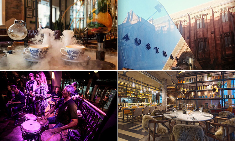 Four tiled images - including one of a live band to a purple backdrop, the interior of The Refinery, Manchester, two teacups on a table of smoke, and the glass pyramid entry to Australasia, Manchester