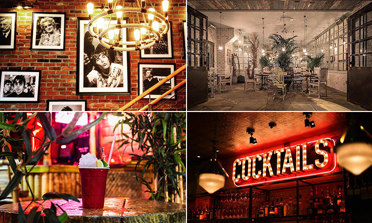 Four tiled images - including one of a lit-up Cocktails sign, the interior of The Botanist, Manchester, black and white portraits of famous Manchester singers hung up on a brick wall and a cocktail on the table