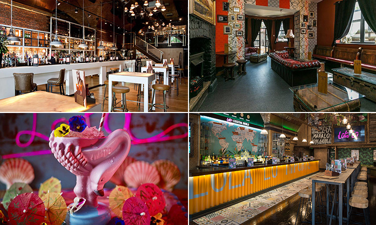 Four tiled images - including one of a cocktail in a flamingo cup, the interior of Lola Lo, Manchester, the interior of Revolution, Manchester, and the interior of Lock 91, Manchester