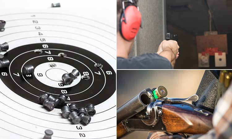 Three tiled images of a target with shells on, a shotgun and a man aiming a hand gun