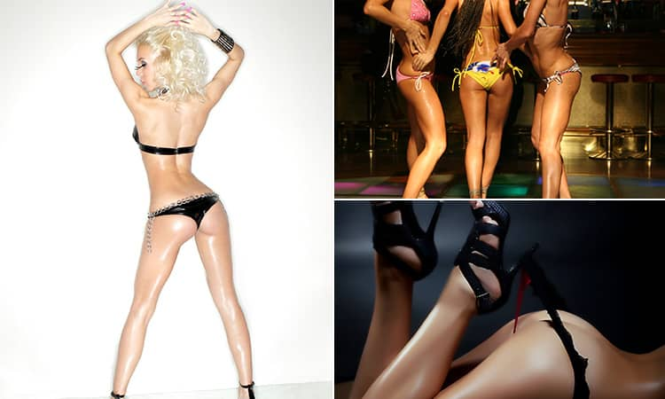Three tiled images of strippers