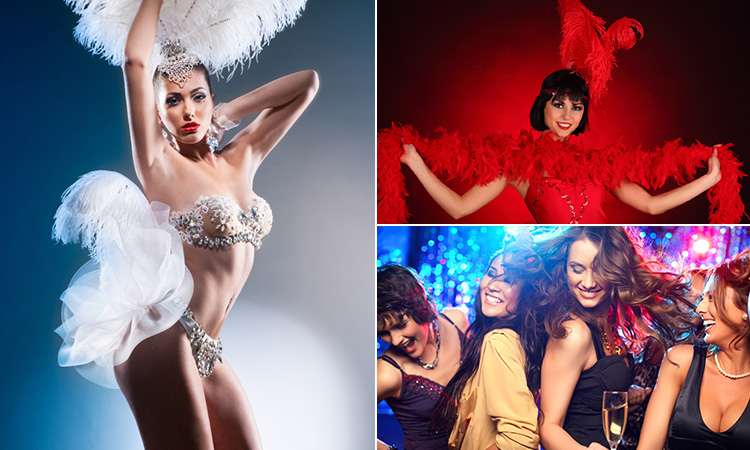 Three tiled images - including one of a woman in diamante bra and knickers and in a feathered headdress, one of a woman holding up a red feather boa whilst wearing a red headdress and four women dancing at a bar