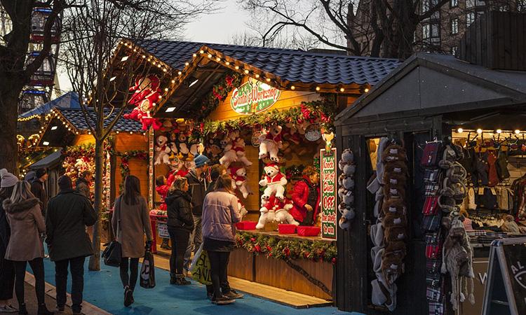 A Christmas stall at a Christmas Market