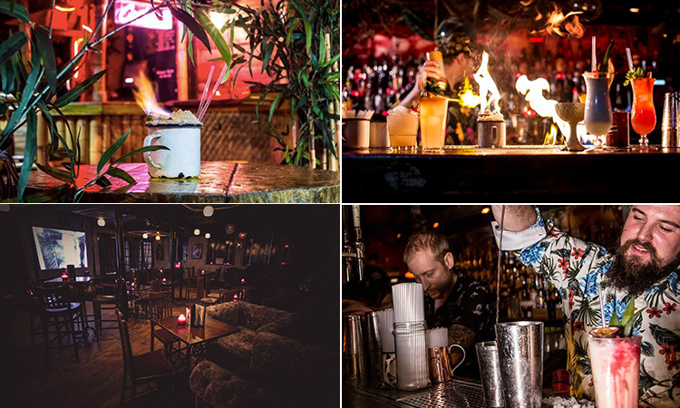 Four tiled images - including one of the interior of The Fitzgerald, Manchester, two bartenders making cocktails, a cocktail in a white cup with a flame, surrounded by greenery and a line of cocktails on a bar with a flame in the background