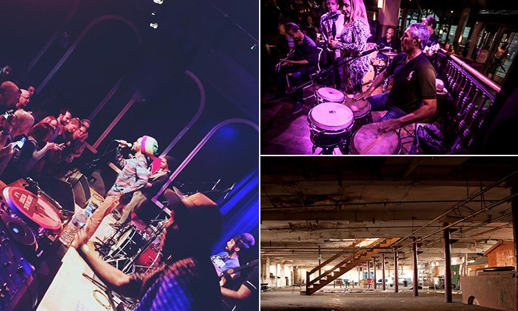 Three tiled images - including one of a man and woman on stage performing to a crowd to a purple backdrop, a Reggae band performing to a crowd and the interior of Islington Mill, Manchester