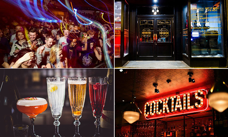 Four tiled images - including one of the exterior of Dusk Til Pawn, four different cocktails lined up on a bar top, a lit-up cocktails sign and people in a club