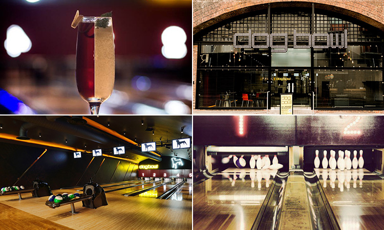 Four tiled images - including one of a cocktail with a red side and a white side, two of the bowling alleys at Dog Bowl, Manchester, and one of the exterior of Dog Bowl