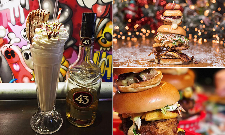 Three tiled images - including two of dirty burgers at Almost Famous, and an alcoholic milkshake next to a bottle of whisky