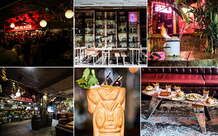 Six tiled images - including one of a Zombie cocktail, the interior and exterior of Cane & Grain, people in the club, a flaming cocktail surrounded by greenery, and food on a coffee table