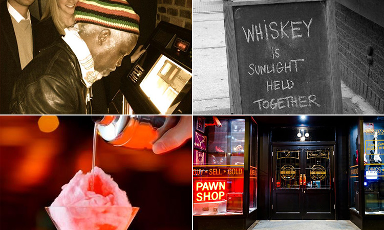 Four tiled images - including one of Billy Ocean signing a jukebox, a cocktail being poured into a martini glass, a blackboard outside a bar and the exterior of Dusk Til Pawn