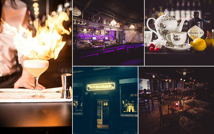 Five tiled images - including one of a flaming martini cocktail, two of the interior of The Fitzgerald and one of the exterior, and teapot cocktails