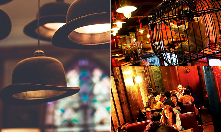 Three tiled images - including one of bowler hat lights hanging from the ceiling, one of people sitting in the booths and one of a doll sat in a cage above the bar