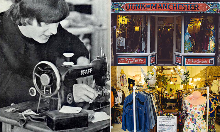 Three tiled images - including a black and white image of a woman working on the sewing machine, the exterior of Junk Shop, Manchester, interior of the Junk Shop