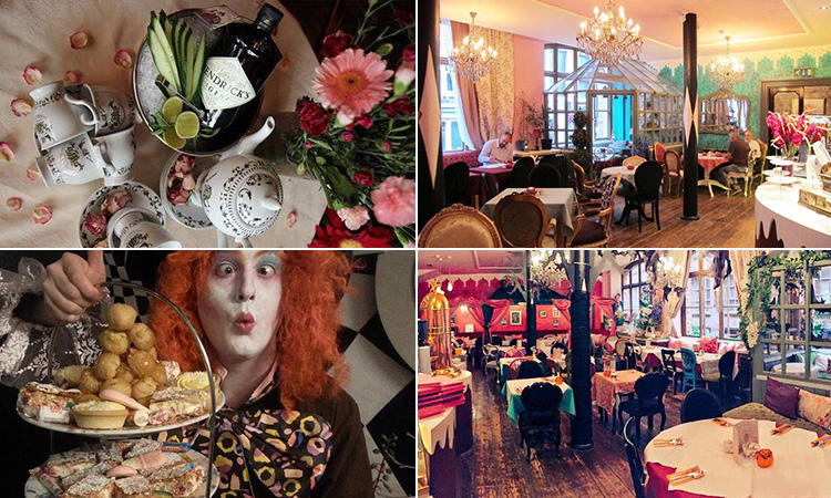 Four tiled images - including one of a man dressed as the Mad Hatter and holding an afternoon tea tier, two of the interior of The Richmond Tea Rooms, and one of teapots next to a bottle of Hendricks Gin