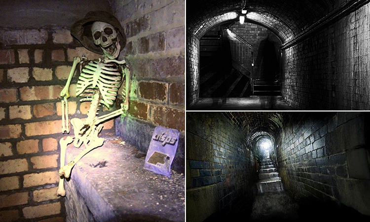 Three tiled images - including one of a fake skeleton sat on a shelf, and two of underground tunnels