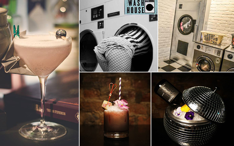 Five tiled images - including one of a woman's body hanging out of a washing machine, the interior entrance of The Washhouse, Manchester, and three of cocktails in different glasses