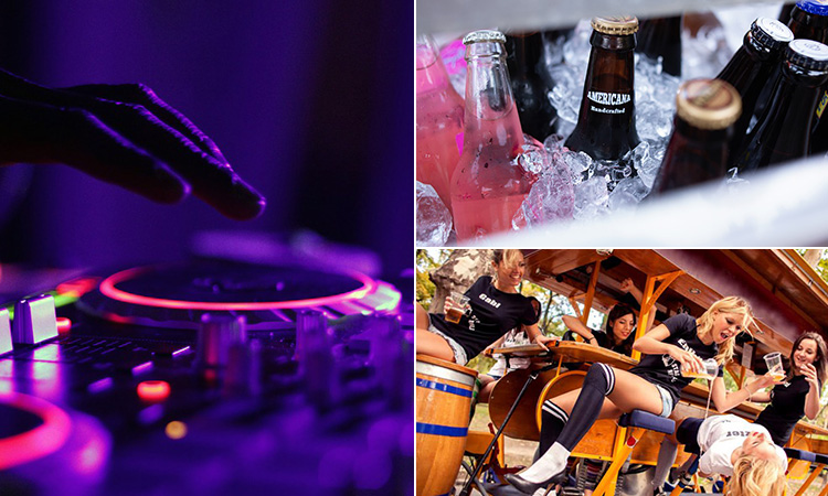 Three tiled images of a DJ's hand on the decks, some beers in an ice bucket and some girls on a beer bike