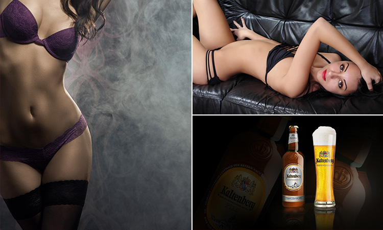 Three tiled images of two strippers and some locally brewed beer