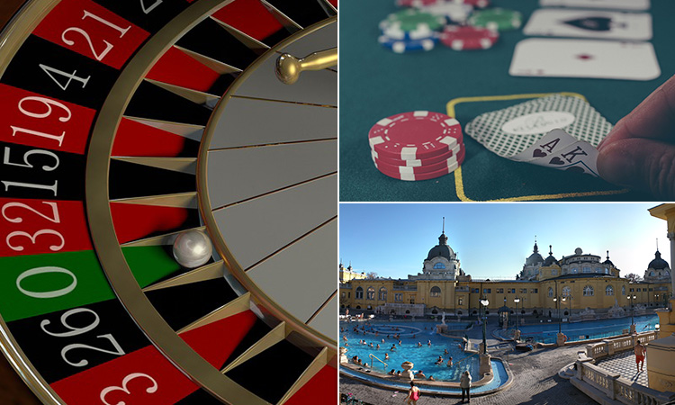 Three tiled images of the roulette wheel, someone revealing their hand in poker and the Szechenyi Thermal Baths
