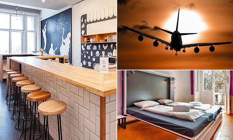 Three tiled images of the bar area and a bedroom in Adagio 1.0 hostel and a plane travelling in an orange sky
