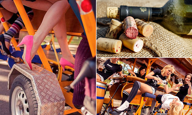 Three tiled images of some women's legs pedalling a wine bike, lots of wine bottle corks and some girls on a beer bike