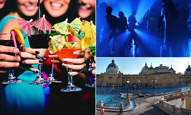 Three tiled images of some women clinking their glasses together, people dancing in a club and Szechenyi Thermal Baths