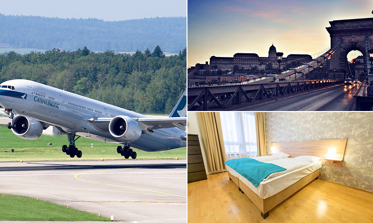 Three tiled images of a plane taking off, a hotel room in Mango aparthotel and a bridge in Budapest