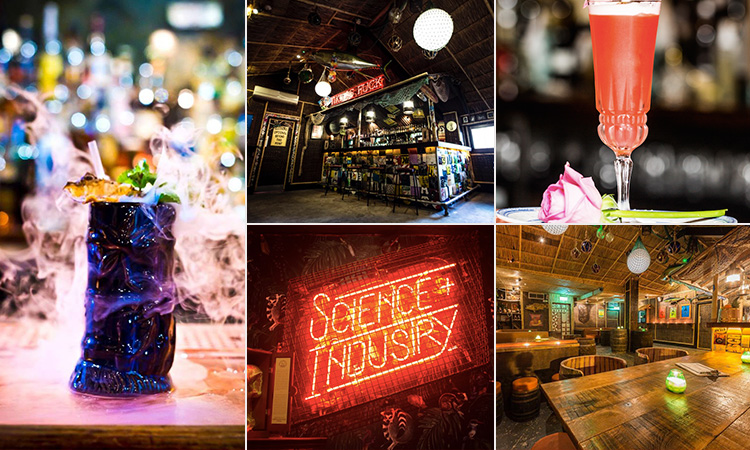 Five tiled images - including two of cocktails, two of the interior of Cane & Grain, and one of a red lit-up sign saying Science Industry