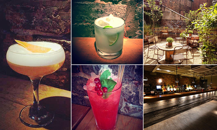 Five tiled images - including three of cocktails, one of the bar at Terrace NQ and another of the outdoor terrace