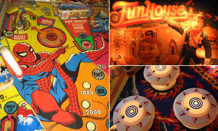 Three tiled images of different styles of pinball machines from Flipper Museum