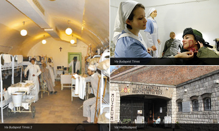 Three tiled images of The Hospital in the Rock in Budapest, with mannequins acting as nurses and patients