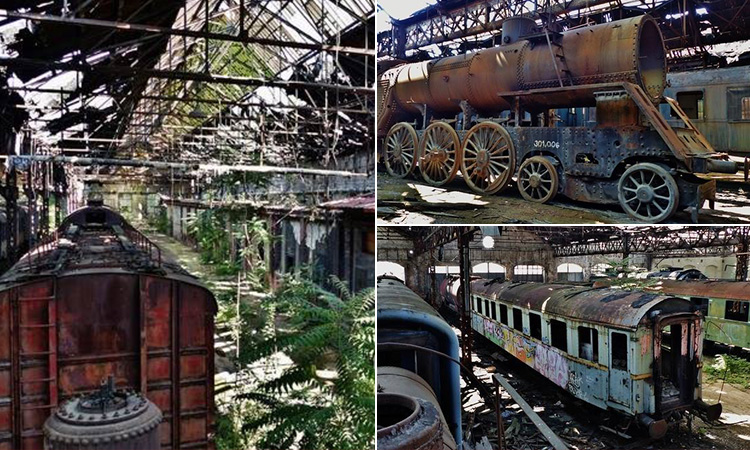 Three tiled images of disused trains in Istvantelek Train Yard