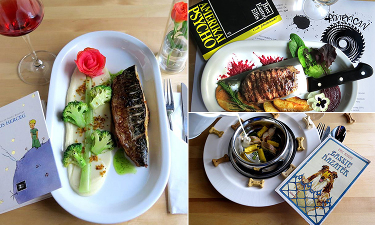 Three tiled images of themed meals in KonyV Bar and Restaurant, including Lassie and American Psycho meals