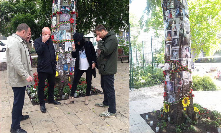 A split image of people grieving around Micheal Jackson's memorial tree and the tree itself