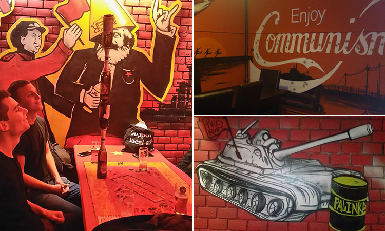 Three tiled images of Red Ruin bar, with communist drawings all over the wall