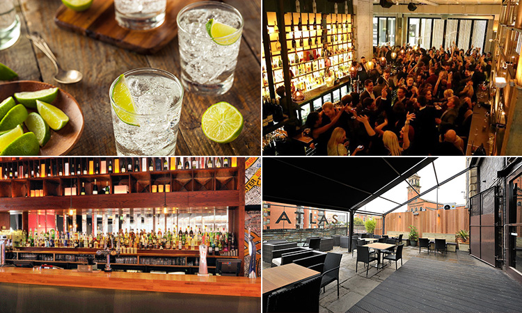 Four tiled images - including two glasses of gin and tonic, one of the bar at Atlas, Manchester, one of the beer garden and one of people in the bar
