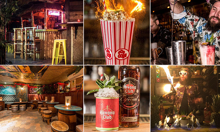 Six tiled images - including two of different cocktails, two of the interior of The Liars Club, Manchester, and two of bartenders making cocktails