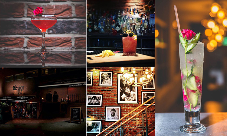 Five tiled images - three of different cocktails, the exterior of The Liquor Store at night and black and white pictures of Manchester artists, hung up on an exposed brick wall