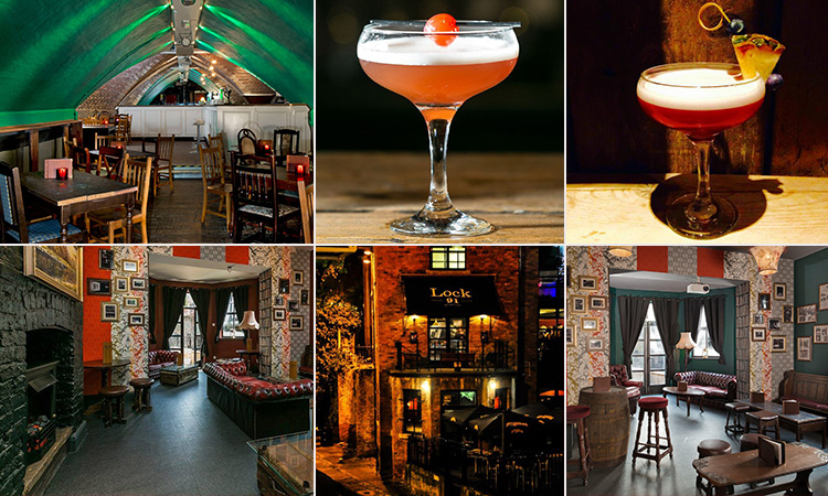 Six tiled images - including four of the interior of Lock 91, Manchester, and two of different cocktails