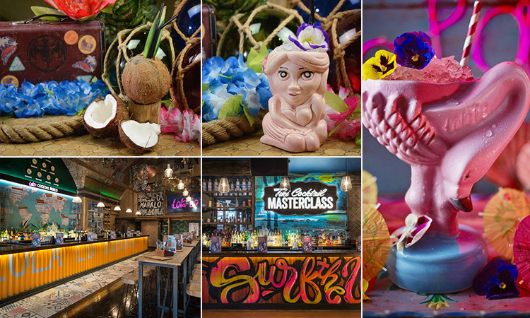 Six tiled images - including tree of cocktails in quirky cups and two of the interior of Lola Lo, Manchester
