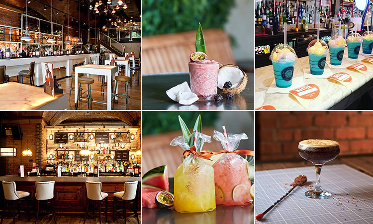 Six tiled images - including two of the interior of Revolution, Manchester, and four of the quirky cocktails