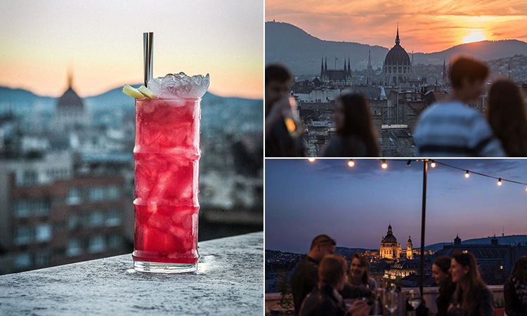 Three tiled images of a cocktail against a skyline backdrop, and two images of people drinking and chatting with Budapest in the background