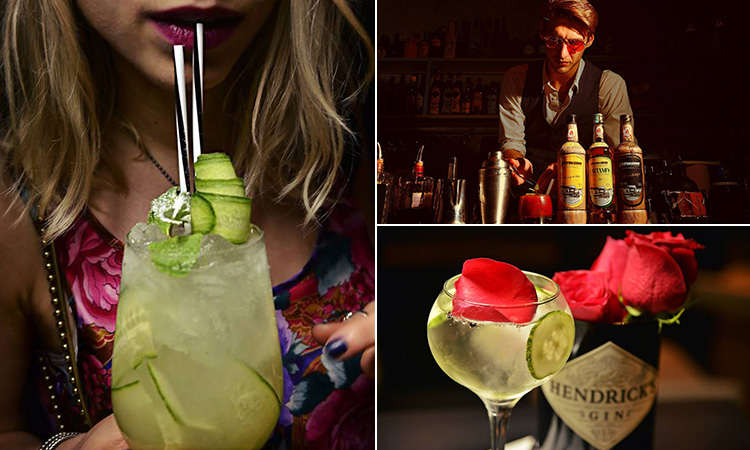 A girl drinking a cocktail from a straw, a barman making cocktails and a cocktail with rose petals in