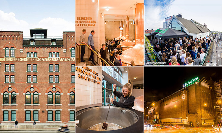 Five tiled images - including two of the exterior of the Heineken Brewery, one of a woman stirring a vat of beer, one of people on the roof of the brewery and another of people inside the brewery