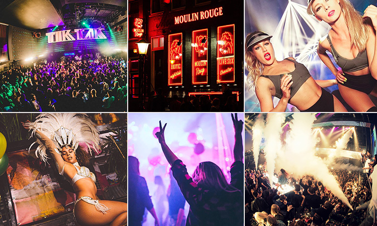 Six tiled images of Amsterdam nightlife - including three of people in clubs, one of two women in underwear, one of a woman in a burlesque costume and another of the exterior of Moulin Rouge, Amsterdam