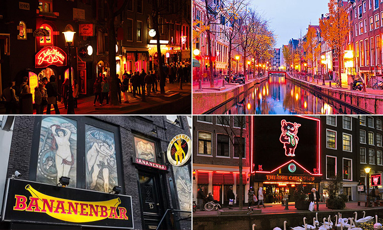 Four tiled images of Amsterdam's Red Light District - including three of the exterior of bars and one of a canal with red light windows lining either side