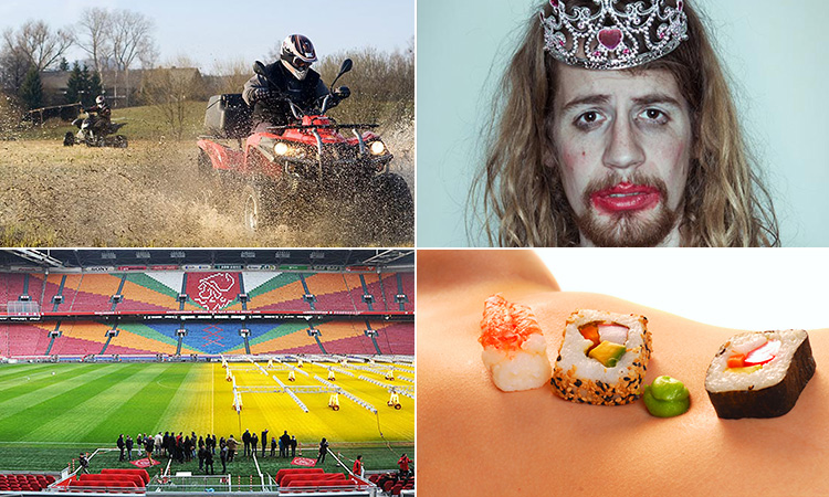 Four tiled images of Amsterdam's activities - including an image of two people riding quad bikes in a muddy field, a close up of a man in makeup and a tiara, the inside of Ajax Stadium and sushi on a woman's stomach